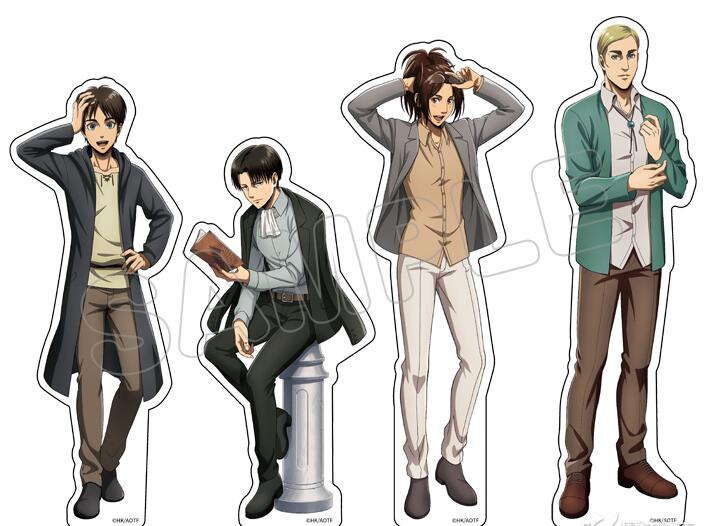 Attack on Titan HOT Anime Casual Wear Series Acrylic Stand Figure Model Desktop Decor Rivaille Eren Jäger Mikasa Ackerman Gifts