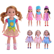 2019 mixed 7pcs/doll dress and 6pcs/doll shoes for 14.5 American doll accessories, generation, childrens gifts