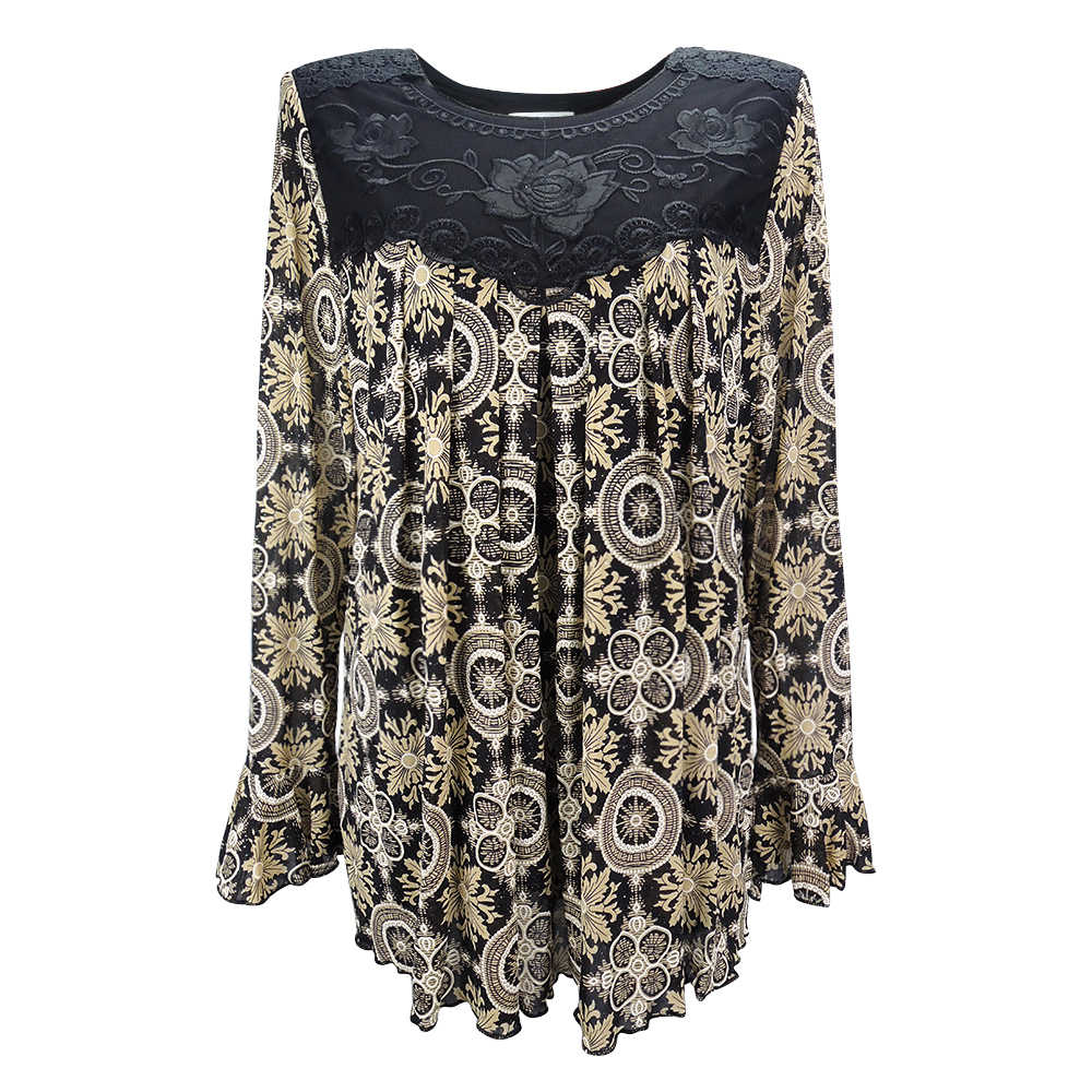 YTL женская элегантная свободная туника большого размера плюс с цветочным принтом для зрелых женщин, рубашка с рукавами, летняя Праздничная рубашка 6XL 7XL 8XL H036