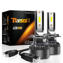 Txvso8 mini h4 led 50w 12v автомобильная фара 6000k 10000lm