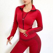 Fitness Running Jacket Women Long Sleeve Training Zipper Sports Shirt Quick Dry Jogging Crop Top Workout Sportswear