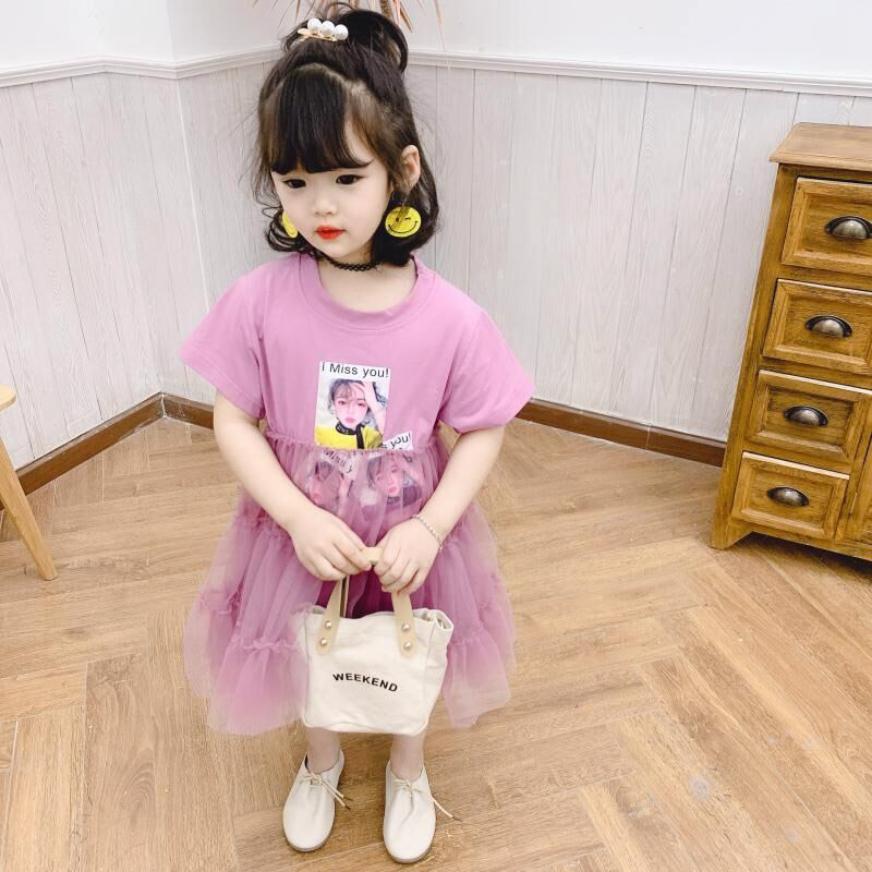 Summer girls dress baby tee dress kids t shirt vestidos children fashion clothes lace patch lolli print short sleeve 1 to 7 yrs