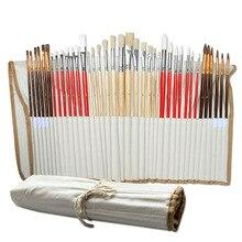 38 ピース/セットナイロン毛毛アーティストペイントブラシキャンバスケース木製アート用品オイルアクリル水彩画