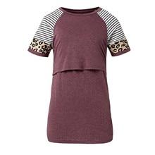 Blouses Tops Pregnant-Women O-Neck for Splicing False Maternity-Clothes Print Leopard