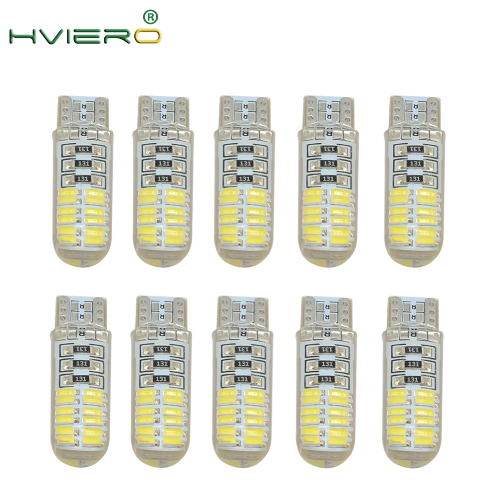 10X 24SMD Auto Styling White Auto LED 194 Reading Light Marker Side Wedge License Plate Tail Bulb Signal Parking Lamp