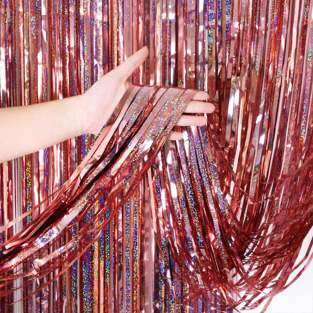 2M papel de aluminio metálico Multicolor flecos brillo telón de fondo decoración de la pared de la fiesta de la boda telón de fondo para fotomatón Tinsel cortina con purpurina