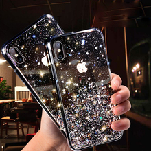 Lovebay Sequins Star Glitter Phone Case For iphone X Transparent Bling Cases Cover XR XS Max 6 6S 7 8 Plus