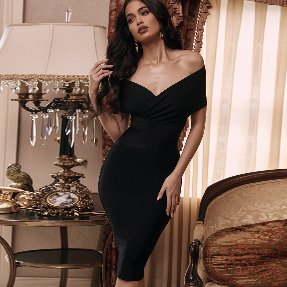 Deer Lady Off Shoulder Bandage Dress 2020 New Arrivals Black Bandage Party Dresses Sexy Bodycon Evening Party Club Dress