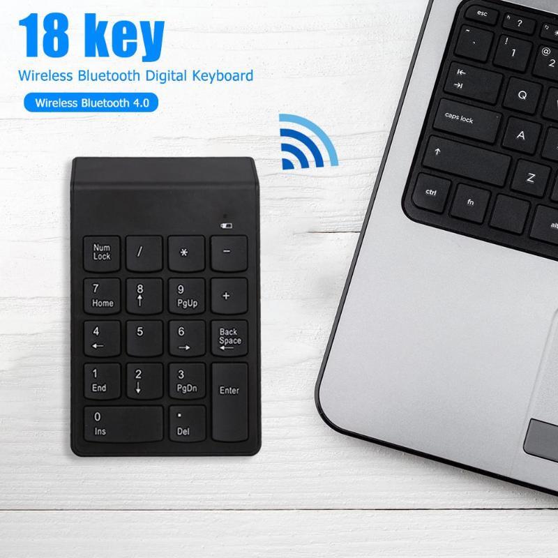 18 Keys Bluetooth Wireless Numeric Keypad Mini Numpad Digital Keyboard For PC Supporting Power-Saving Automatic Sleep Mode