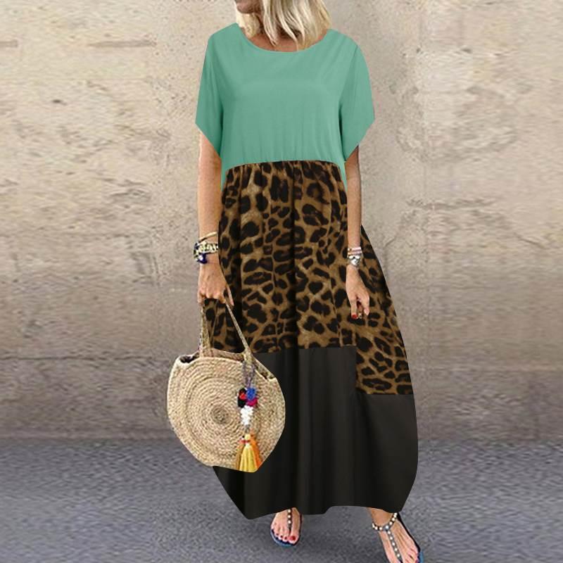 Summer Patchwork Dress Women Bohemian Leopard Print Sundress Vintage Short Sleeve Baggy Long Vestido Plus Size Dresses 33