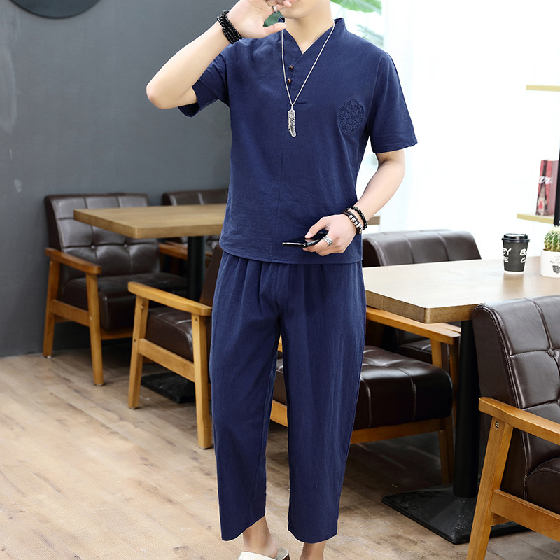 Short Sleeve Set Men's Chinese-style Embroidered Frog Loose Cotton Linen Shorts Flax Two-Piece Set Large Size T-shirt Suit