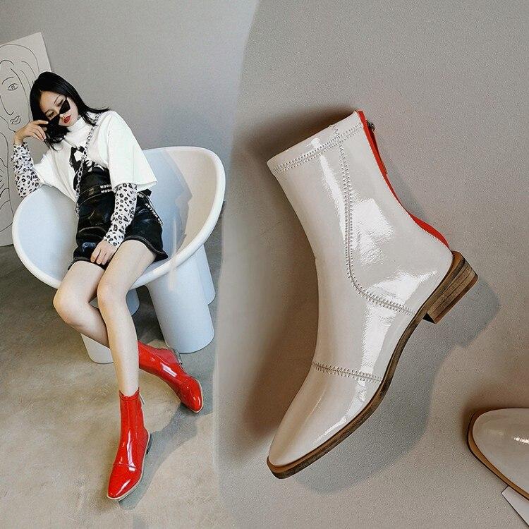 MLJUESE-Botines de charol para mujer, botas cortas de invierno de felpa con punta cuadrada y tacón bajo, en color rojo, talla 40, 2020