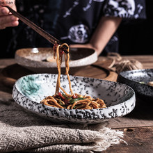 Japanese style high quality textured special-shaped ceramic plate retro tableware household 8 inch dinner plate thick edge plate