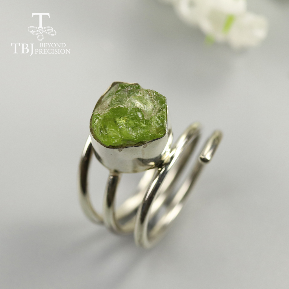 Handmade unique Gemstone Rough Ring, Natural Opal Tanzanite ruby emerald peridot apatite Ring 925 sterling silver jewelry