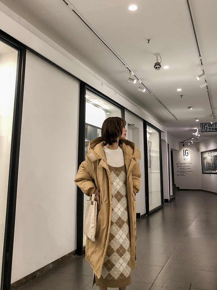 Slit Gebreide Overgooier vrouwen Herfst En Winter 2018 Nieuwe Stijl Koreaanse stijl Veelzijdige Mid-lengte Base garen Jurk