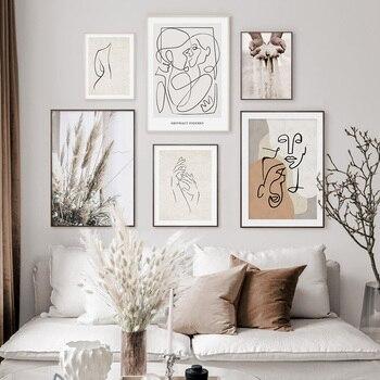 Lienzo abstracto con boceto de figura de Estilo bohemio Beige a la moda, cuadro artístico para la pared, decoración para el hogar y la sala de estar, sin marco