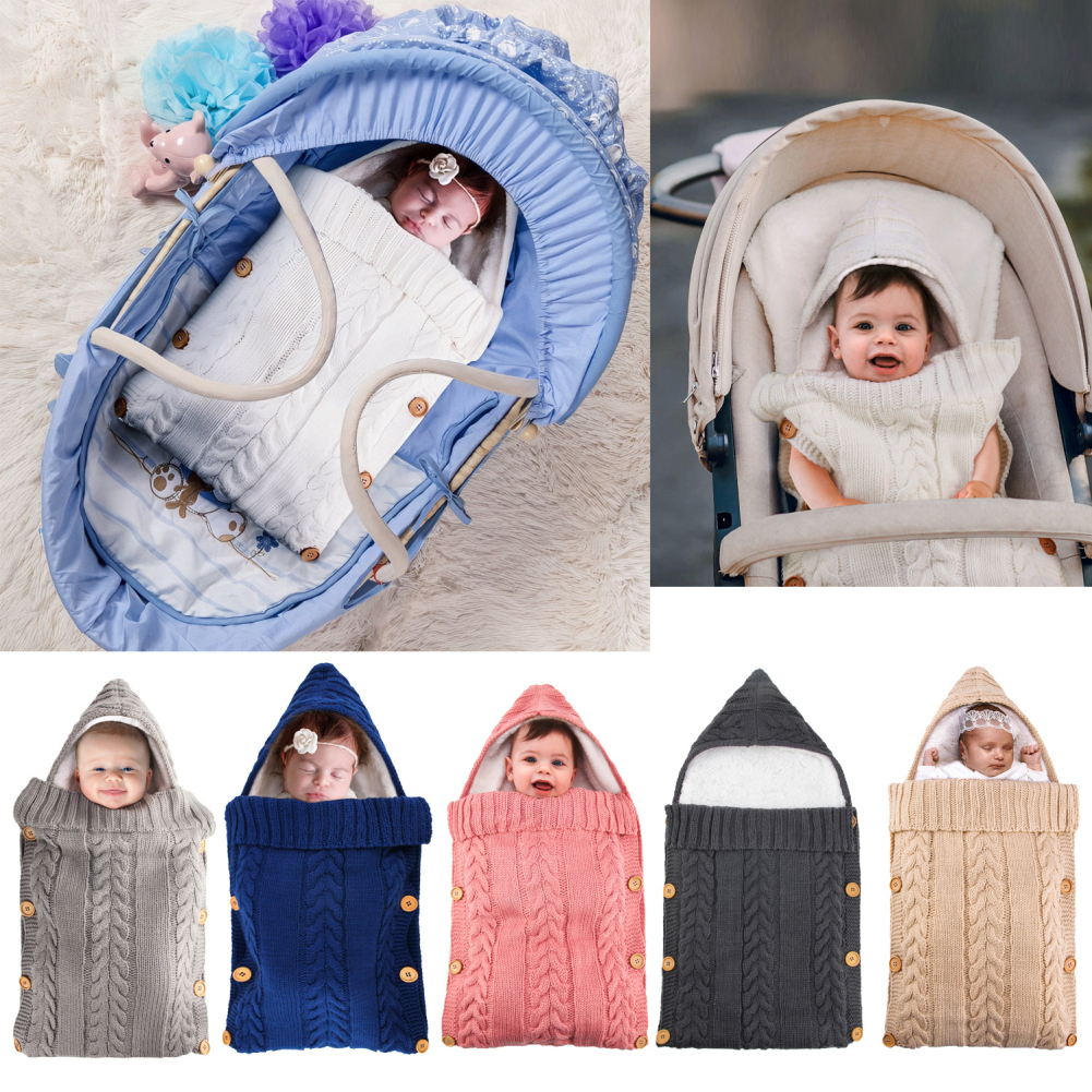 Baby Sleeping Bag Envelope Winter Kid Sleepsack Footmuff Stroller Knitted Sleep Sack Newborn Swaddle Knit Sleep Sack