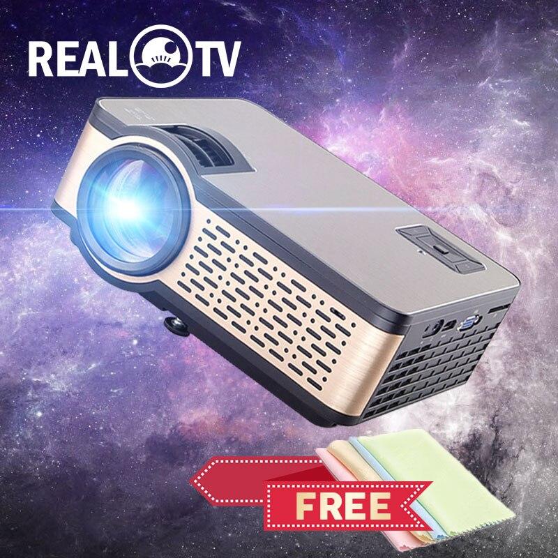 Real tv w5 hd mini projetor 4000 lumens android wifi bluetooth suporte portátil 1080p para o telefone inteligente hdmi usb vga sd com presente-0