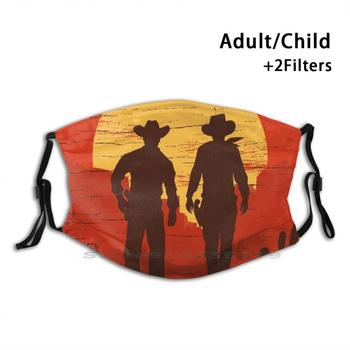 Cowboys Of The Wild West - Striding Print Reusable Pm2.5 Filter DIY Mouth Mask Kids Rdr2 Red Moon Gaming Game Gamer Cowboy Cow image