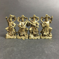 The Heavenly Kings 4pcs/set Copper Mini Small Tibetan Buddhist Supplies Exquisite Lucky Pendants Crafts