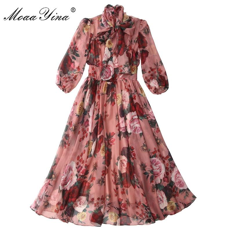 Image 3 - MoaaYina Fashion Designer Runway dress Spring Summer Women Pink  Dress Bow collar Rose Floral Print Elegant Chiffon DressesDresses   -