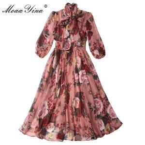 Image 3 - MoaaYina, модное дизайнерское подиумное платье, весна лето, женское розовое платье с бантом, воротник, роза, цветочный принт, элегантные шифоновые платья