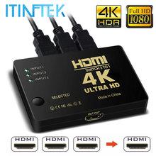 4K 2K 3x1 rozdzielacz kabli HDMI HD 1080P przełącznik wideo Adapter 3 wejście 1 Port wyjściowy HDMI Hub dla Xbox PS4 DVD HDTV PC Laptop TV