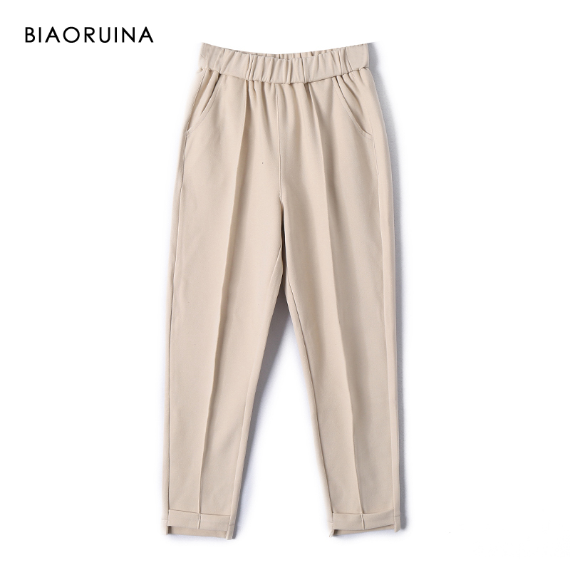 BIAORUINA Women's Elastic High Waist Loose Harem Pant Female Casual All-match Solid Ankle-Length Pant Trouser Thick And Warm