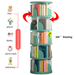 Вращающаяся на 360 ° книжная полка, многослойная напольная полка, стеллаж для хранения, большая вместимость, мебель для дома, для книг