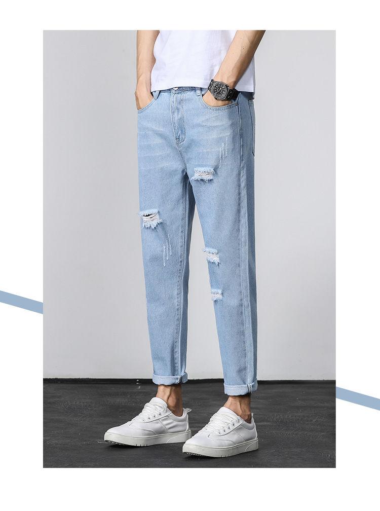 Men's Hole Jeans Loose Straight Leg Ankle-length Fashion All-match Begging Pants Korean-style Trend Denim Pants