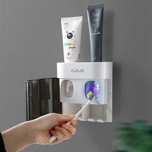 Dispensador para creme dental espremedor automático com capa à prova de poeira suporte de escova de dentes wallmount para casa de banho acessório G-BOOGE