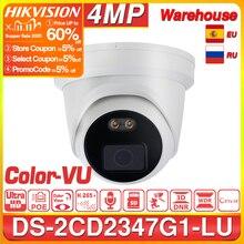 Hikvision EasyIP 4,0 ColorVu Original IP Kamera DS 2CD2347G1 LU 4MP Netzwerk Kugel POE IP Kamera H.265 CCTV Kamera SD Card Slot