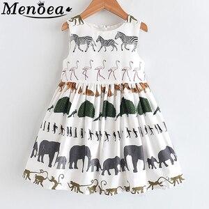 Menoea Girls Summer Dress 2020 Children Sleeveless Animals Printed Princess Dress Kids European And American Style Dress(China)