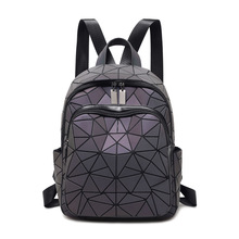 Fashion Women Luminous Backpacks Female Shoulder Bag Girl Daily Backpack Geometry School Folding Bag Travel School Bags Hologram kisumater matt color backpacks women bag geometry sequins folding luminous baobao backpack student s school bag free shipping