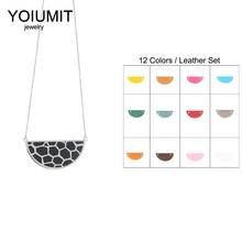 Cremo DIY New Necklaces & Pendants Stainless Steel Women Charm Necklace Interchangeable Leather Hollow Pendant Chain
