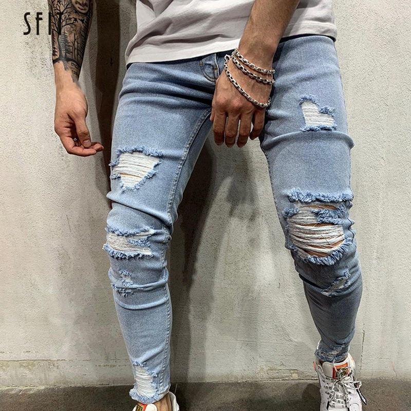SFIT NEW Men Stretchy Ripped Skinny Biker Embroidery Print Slim Fit Jeans Destroyed Hole Taped Denim Scratched High Quality Jean