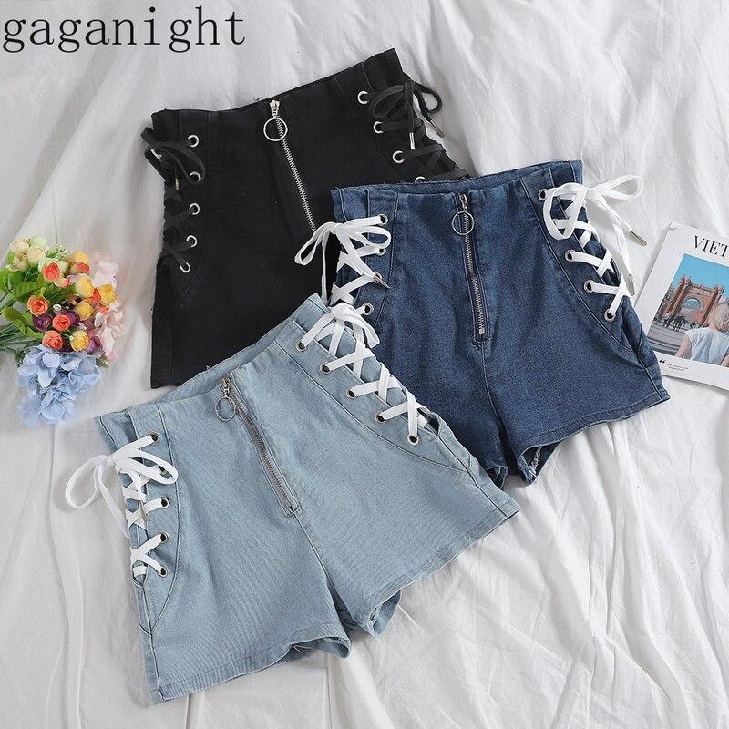Gaganight Sexy Women Jeans Short Bandage Summer Chic Denims Girls Shorts Zipper Plus Size High Waist Solid Bottom Short Female