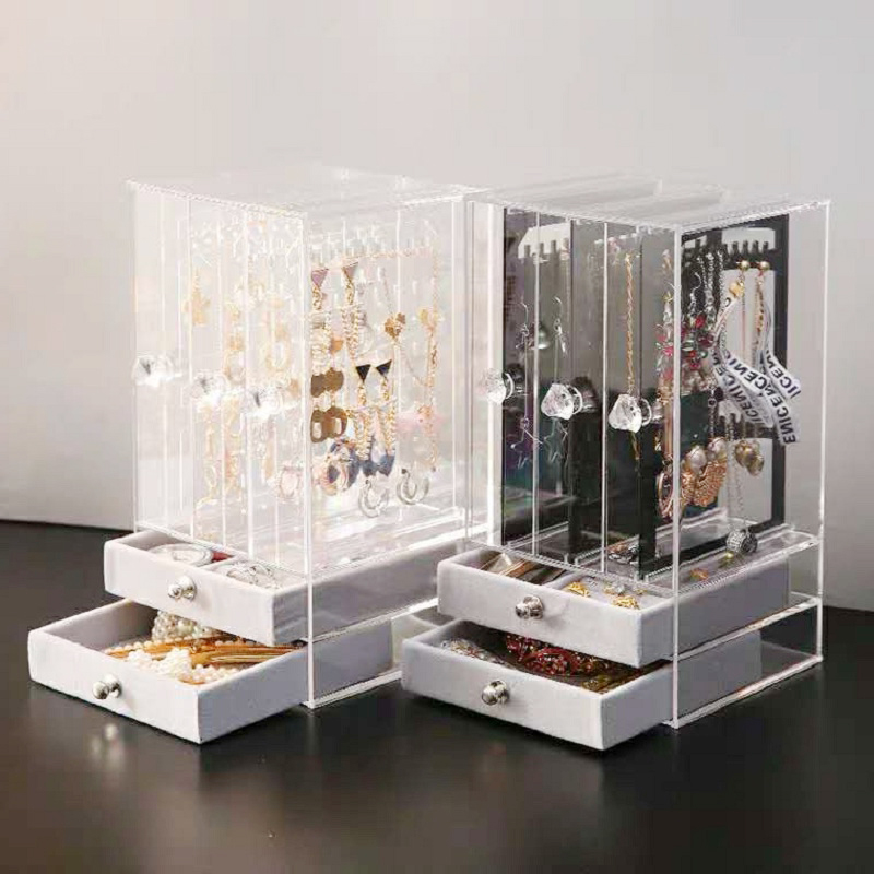High-end Earrings Storage Box Portable Plastic Drawer Transparent Display Box Dust-proof Princess Jewelry Rack Shelf Organizer