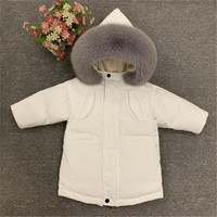 Kids Winter Down Coat Real Fur Collar Chilren Super Warm Outerwear Coat For Baby Boys Girls 2 10 Years Snowsuit