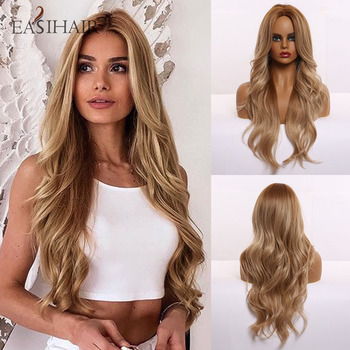цена на EASIHAIR Long Brown Synthetic Wigs Women Middle Part Wavy Wigs Heat Resistant Cosplay Wig Layered Natural Ombre Hair Wig