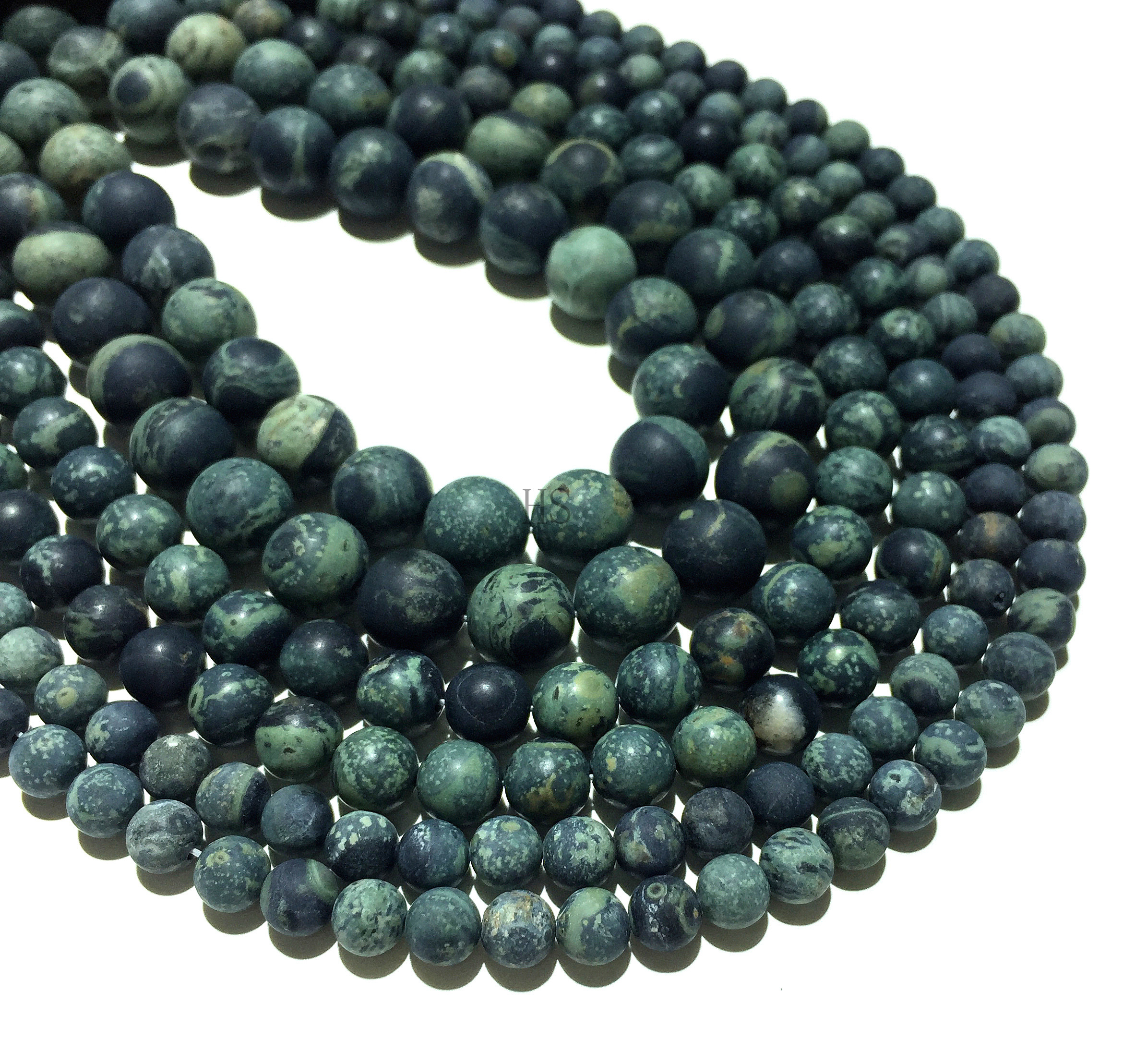 Factory Price Natural Green kambaba Jasper Matte Round Loose Beads Healing Energy Jewelry <font><b>DIY</b></font> Bracelet Necklace <font><b>4</b></font> 6 8 10 12mm image