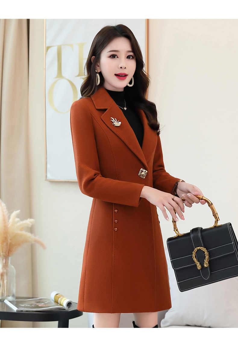 Wełniany płaszcz kobiet 2019 jesień zima Korea odzież nowa koszulka z długim rękawem slim topy moda imitacja wełny eleganckie kobiety płaszcze fala