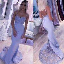 Gelinlik modelleri Backless Mermaid leylak dantel sapanlar boncuklu aplikler düğün parti elbise Robe demoiselle d honneur