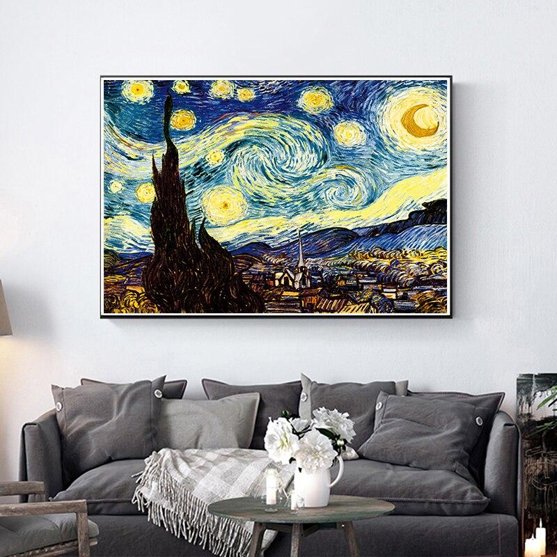 Famoso Van Gogh noche estrellada paisaje clásico pintura al óleo reproducciones en lienzo póster impresión cuadro de pared para sala de estar Arte clásico reproducción artista Magritte el beso carteles e impresiones lienzo arte pintura cuadros de pared para la decoración del hogar