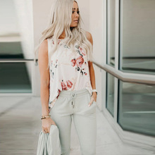 New Floral Print Round Neck Beach Vest Women Casual Loose Ta