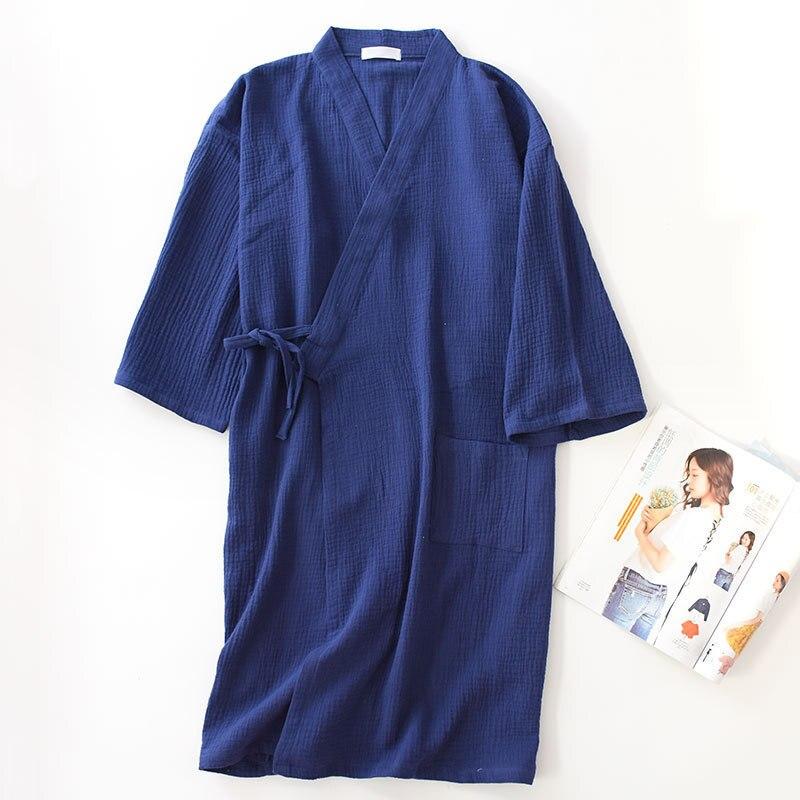 Sleeprobe Home Leisure Wear Unisex Thin Robe Loose Men And Women Japanese Style Bathrobe 100% Cotton Craped Sleepwear