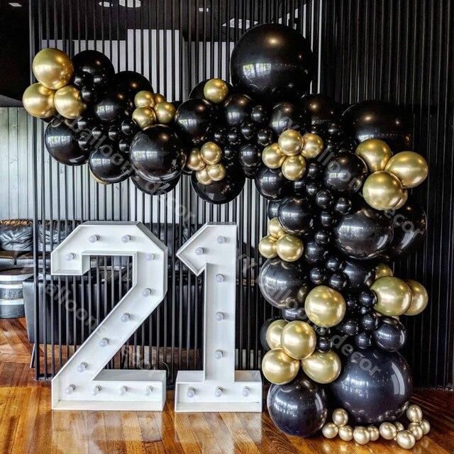 110pcs Balloon Arch Garland Kit Chrome Gold Latex Black Balloons Wedding Hawaiian Party Birthday Balloons Globos Decoration