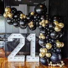 Arco de globo de 110 uds, juego de guirnaldas de oro cromado, Globos negros de látex, boda, fiesta hawaiana, cumpleaños, decoración