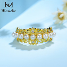 Kuololit 100% Diamonds 10K Yellow Gold Rings for Women Natural Freshwater pearl Ring for Engagement Wedding Bride anniversary
