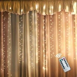 Image 5 - ستارة النافذة أضواء سلسلة جليد مع جهاز التحكم عن بعد ومؤقت ، أضواء 300 LED الجنية وميض مع 8 طرق يناسب لغرفة النوم جزء الزفاف